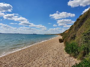Meon Shore on the Naturist Beach Guide on Great British Naturism web site